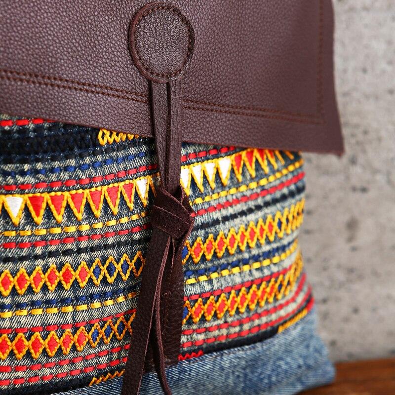 AETOO Retro cloth bag female shoulder slung national wind embroidery bag denim 2018 new original casual denim bag