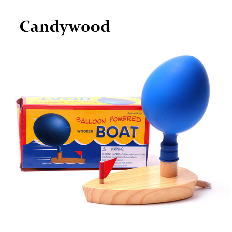 Powered Boat Classic Play Children Wooden Outdoor Cartoon Toy with 2 Balloon