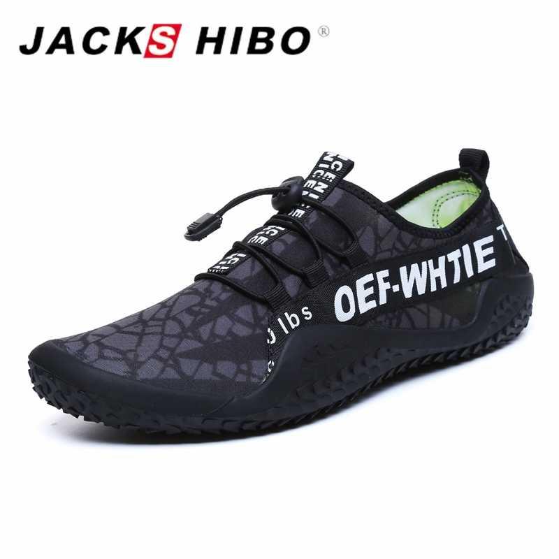 JACKSHIBO mężczyźni buty Sneakers wody męskie plażowe buty do wody do pływania boso sportowe na świeżym powietrzu Surfing nurkowanie buty trekkingowe