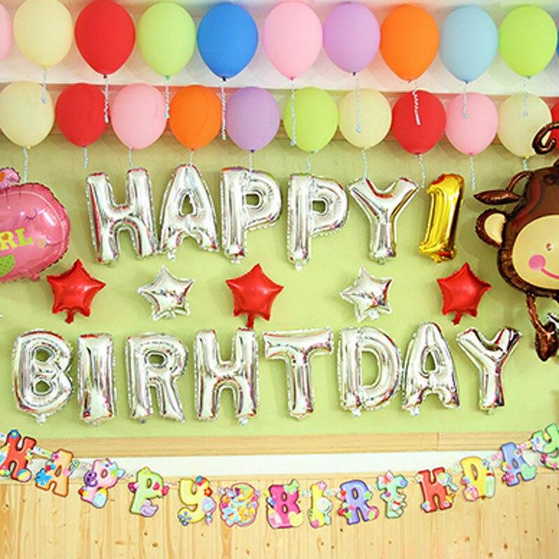 Wholesales Price Aluminum Foil Membrane Happy Birthday 13 Letters Silver Gold Alphabet Party Balloons Decoration Set