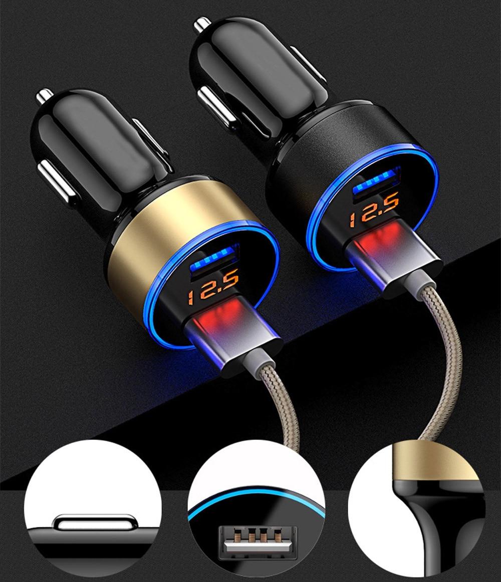 3.1 A двойной USB автомобильное зарядное устройство 2 порта ЖК-дисплей 12-24V разъем прикуривателя быстрое автомобильное зарядное устройство автомобильный адаптер питания для стайлинга