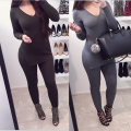 New Europe and the United States women's long sleeve jumpsuit overalls sexy nightclub cultivate one's morality suit 2 pieces