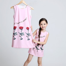 mom and daughter dress matching mother daughter clothes family look girl and mother dress fashion rose print sleeveless
