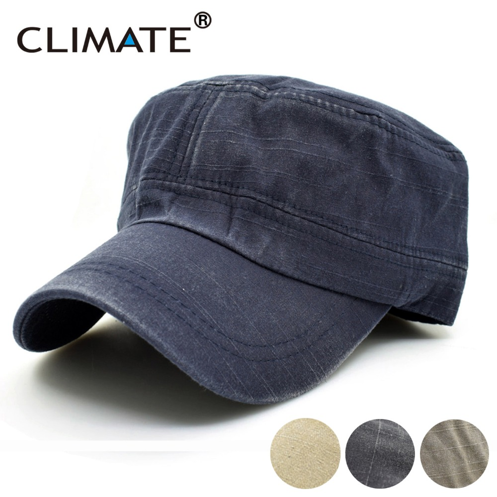 CLIMATE New New Spring Simple Solid Heavy Washed Denim Cotton Flat Top Caps Hat Men Women Adjustable Hunting Army Caps Hat fashion rivets cotton polyester fiber men s flat top hat cap army green