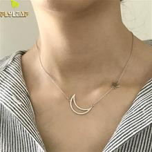Flyleaf New Arrivals Hollow Moon With Cubic Zirconia Smooth Stars Pendant Necklace For Women 925 Sterling Silver Elegant Jewelry green hollow moon full of stars necklace