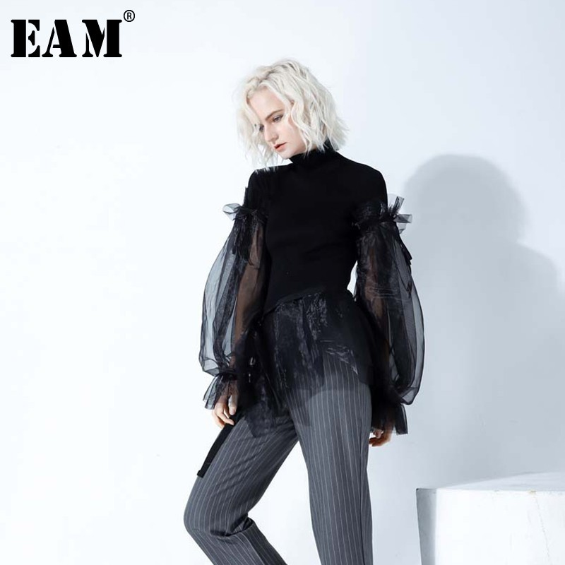[EAM]2019 New Spring High Collar Long Sleeve Solid Coor Black Gary Loose Big Size Warm Knitting Sweater Women Fashion Tide JA950