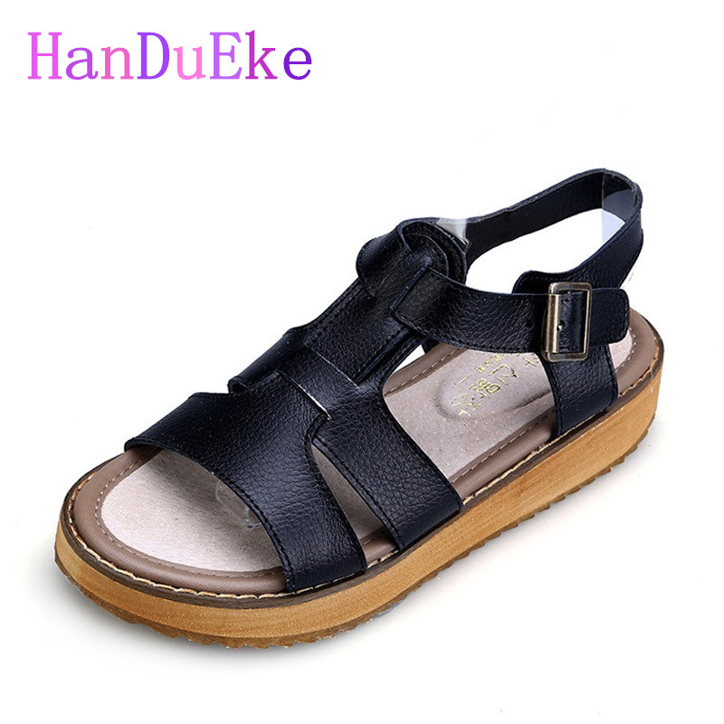 HanDuEKe New 2017 Rome Fashion Gladiator Sandals Summer Genuine Leather Girls Wedges Platform Sandals Casual Beach Shoes Woman phyanic 2017 gladiator sandals gold silver shoes woman summer platform wedges glitters creepers casual women shoes phy3323