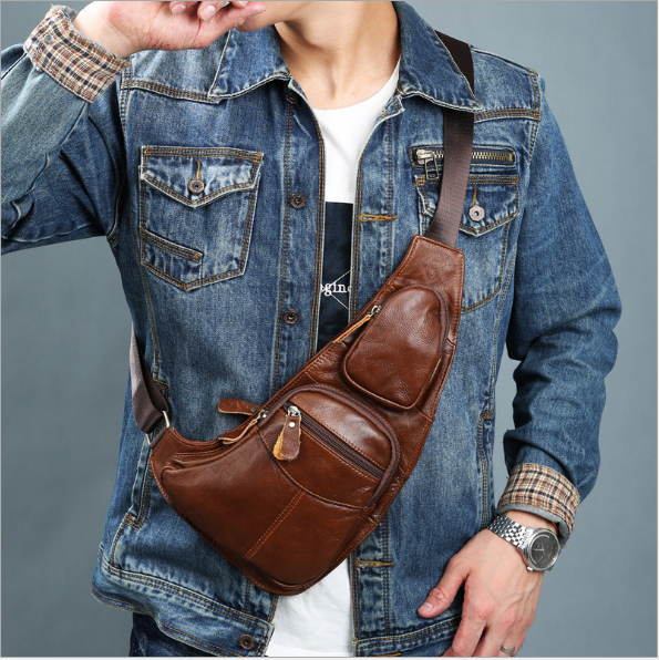 High quality mens genuine leather cowhide vintage sling chest back day bag travel fashio ...