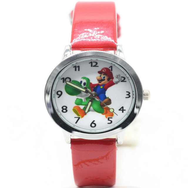 2018 new 1pcs kids leather watches children cartoon Super Mario watch Clock boys