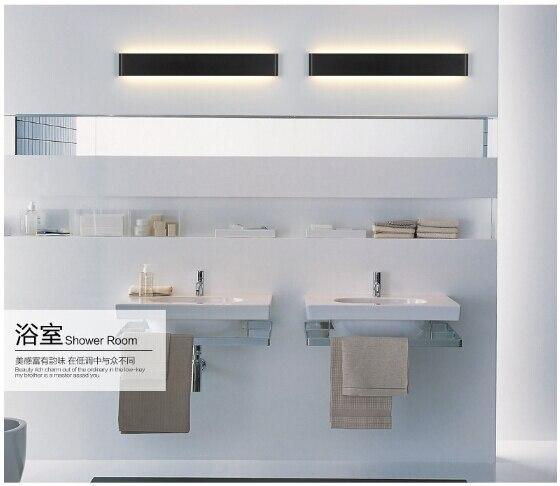 modern aluminum acryl black/white led indoor wall lamp bathroom mirror light living room bed room 24W/72cm IP65 AC95-265V 1756