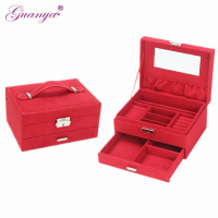 Guanya High Quality velvet Jewelry box Multi function Travel Jewellery box case organizer with Mirror inside 5 colors