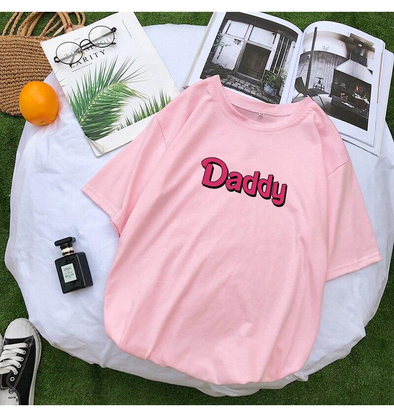 T Shirts Women Summer Funny DADDY Letter Print Tshirt Harajuku Casual Streetwear Kawaii Plus Size Camiseta Mujer Tee Shirt Femme (9)