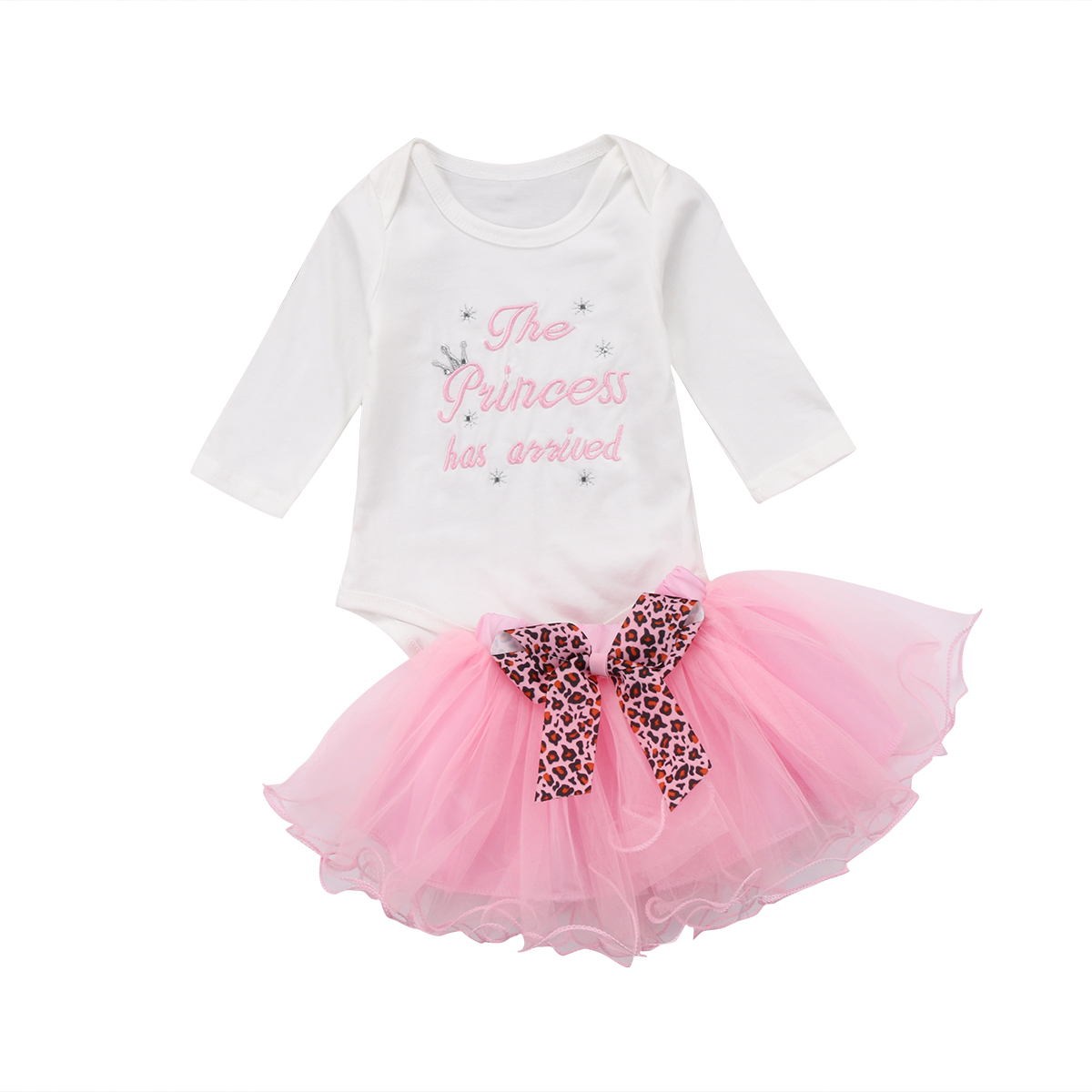 2018 Infant Newborn Baby Girl Cute Clothes Long Sleeve Letter Rompers Playsuit Bow Tutu Skirt Outfit Set Clothes new