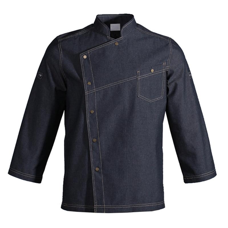 Long Sleeve Blue Shirt Hotel Restaurant Chef Kitchen Waitstaff Culinary Uniform Barista Bistro Baker Bar Catering Work Wear D54