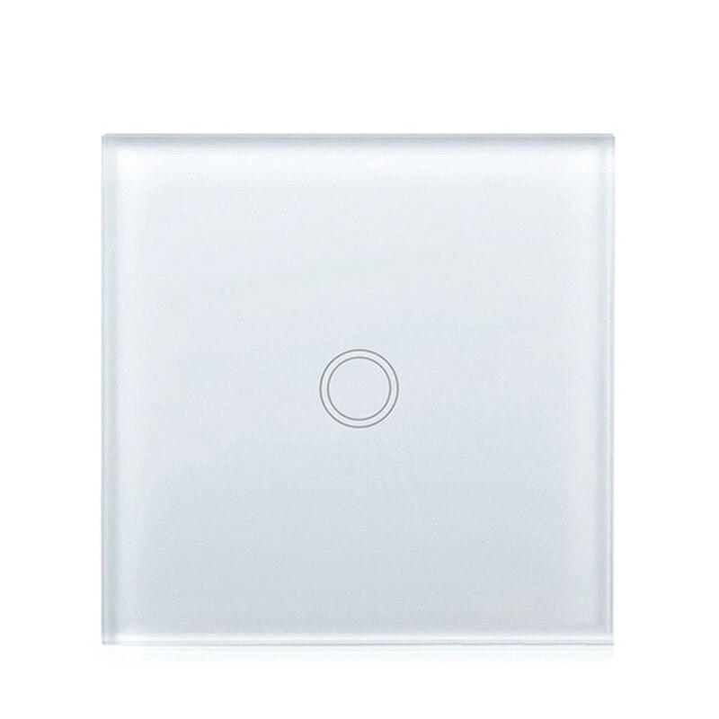 UE/Reino Unido Interruptor táctil Panel de cristal blanco cristal Interruptor táctil, AC220V, UE 1 Gang 1Way luz pantalla táctil de pared