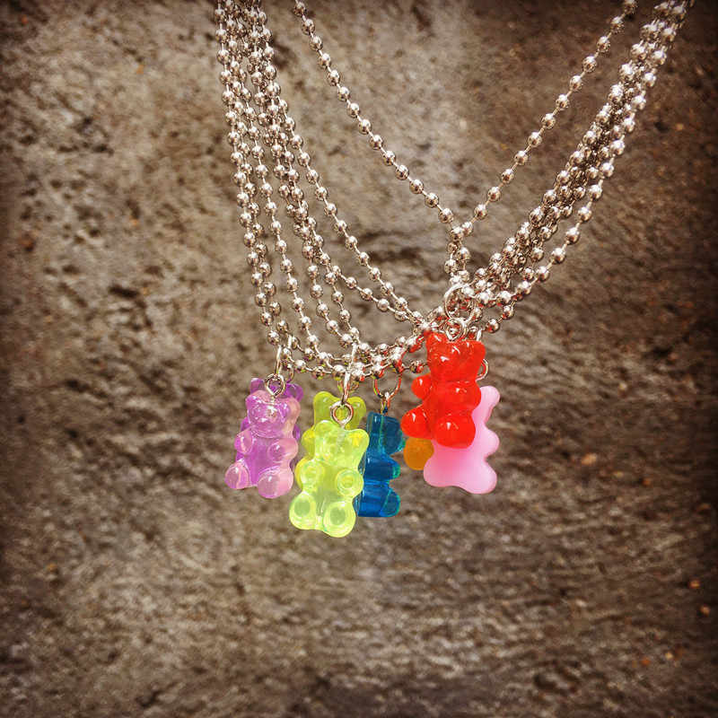 1pcs Handmade Stainless Steel Bear Necklace, Colorful Candy Color Animal Resin Pendant For Women&Girl Daily Jewelry Party Gift
