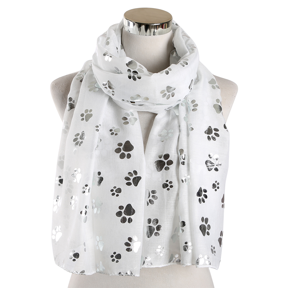 FOXMOTHER New Fashion Foil Sliver White Pink Black Cat Dog Paw Scarf For Pet Dog Lover Mother Gifts Women Scarves 2019 in Women 39 s Scarves from Apparel Accessories