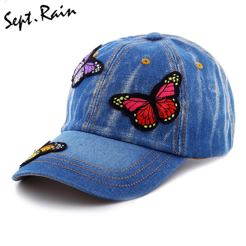 Summer Embroidered Baseball Caps Women Beauty Butterfly Denim Baseball Hat Snapback Hats Lady Fashion hip hop Sun Bone Hats