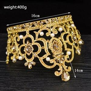 Image 3 - New Vintage Gold Color Luxury Rhinestone Big Tiara Bride Wedding Queen Lager Royal Crown Tiaras Hair Jewelry Hair Accessories