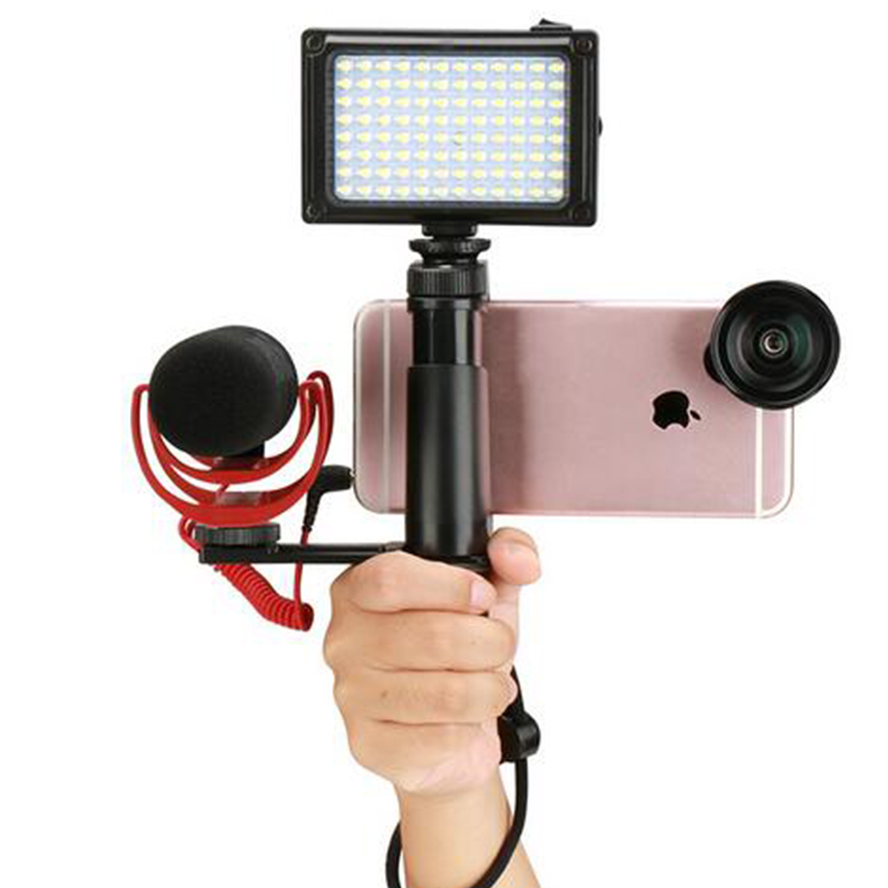 F-Mount Smartphone Grip Handle Rig With Wrist Strap, Tripod Mount Adapter & Cold Shoe Mount For Led Video Light And Micro