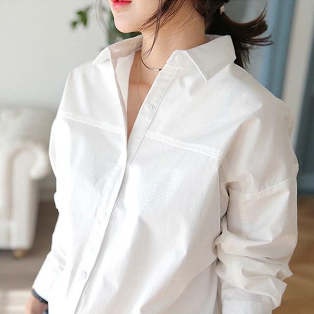 BGTEEVER 2019 Весна для женщин рубашка женственный блузка Топ с длинным рукавом повседневное белый и синий свободные блузки для малышек пр