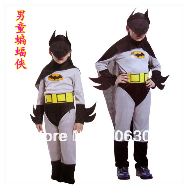 Free shipping children batman costume with cape head mask halloween party dress up costume for & Free shipping children batman costume with cape head mask halloween ...