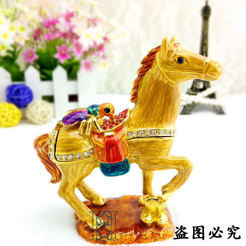 European Chinese style Metal enamel painted crafts horse, home decoration desktop ornaments (A491)