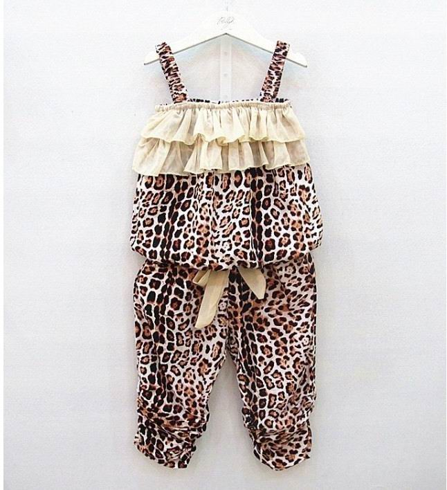 2017 New Girl Summer Leisure Sets Chiffon Lace Leopard Two Piece Outfits Children Clothing 2-5Y 2115