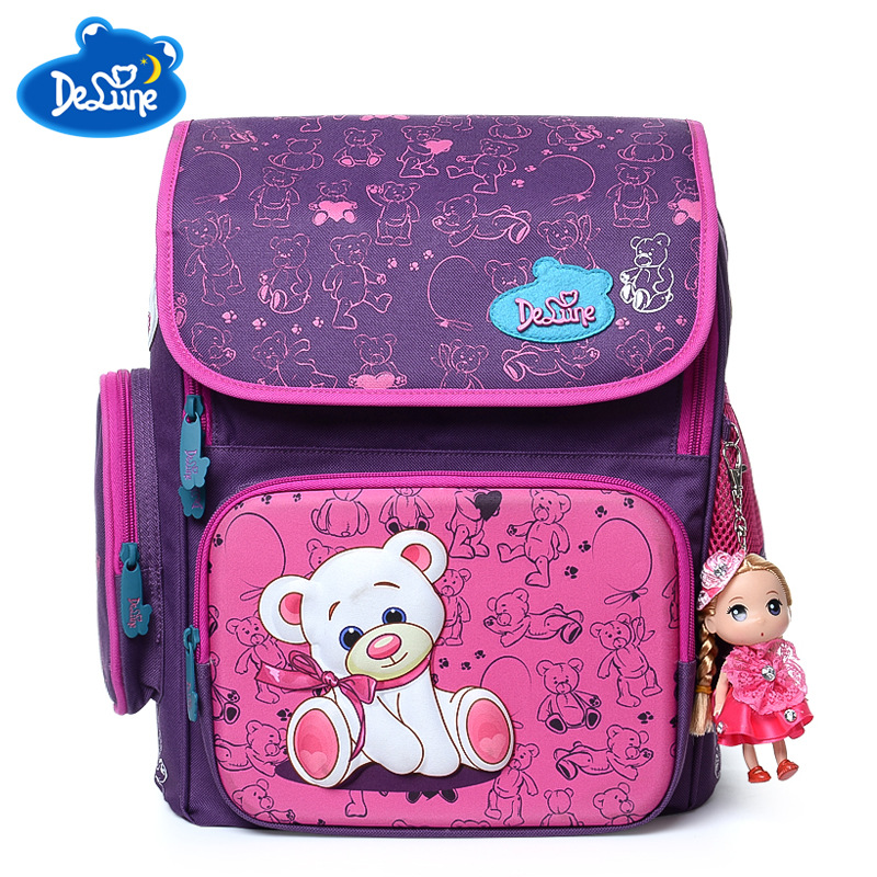 Russian Famous Brand Delune Satchel Backpack Kids 3D Cartoon Cute Schoolbag 5-8 years Old Child Girls Orthopedic School Backpack