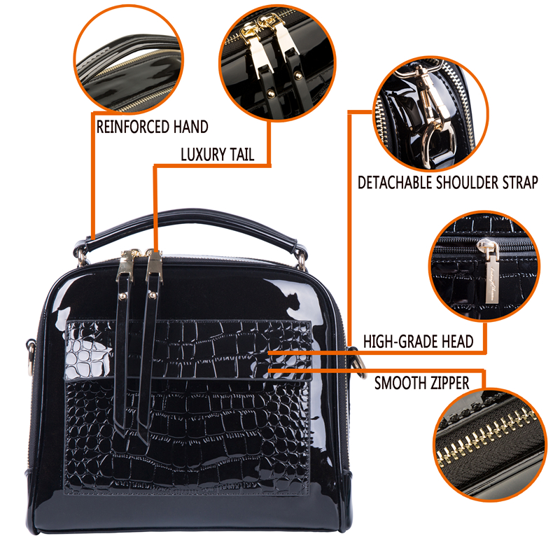 Image 5 - FLYONE Crossbody Bags for Women 2019 Women Handbag Crocodile Patent Leather Shopper Tote Shoulder Bag Women's Bag Bolsa Feminina-in Shoulder Bags from Luggage & Bags