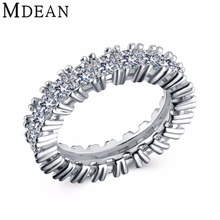 MDEAN White Gold Color Wedding Rings for Women Engagement Bague Women Ring Bijoux Size 5 6 7 8 9 MSR378