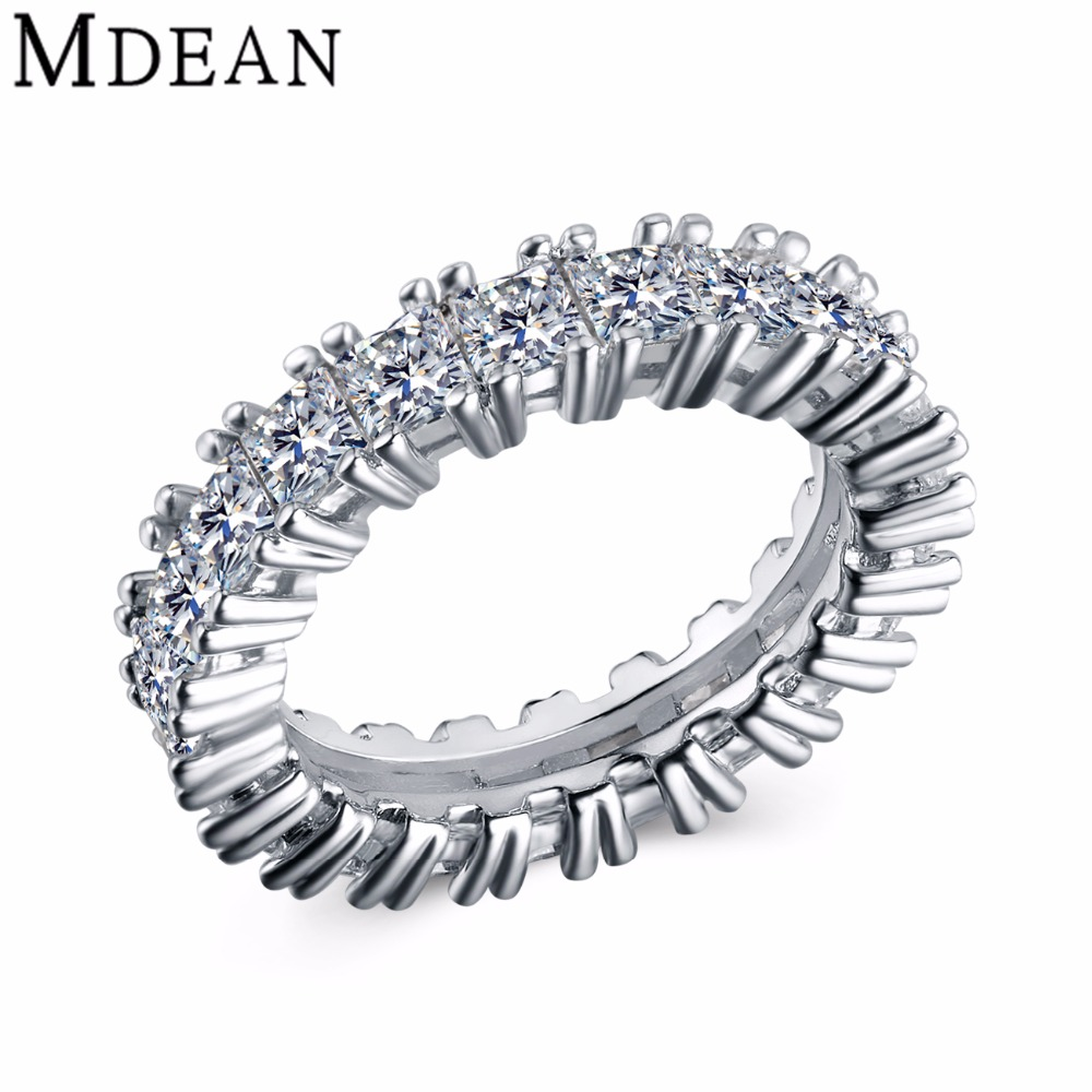 MDEAN White Gold Plated rings for women wedding Engagement ring Bague vintage women rings bijoux ring