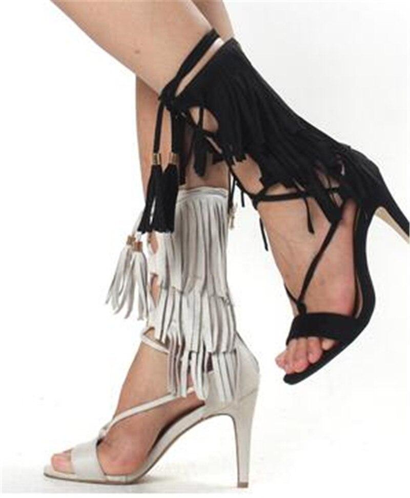 up Sandales Bottes New Hot Talons Chaussures blanc Sestito Haute as Dentelle Pictures Femme Dames Gladiateur outs Gland Filles Embelli Noir Cheville Cut Mince fpOzqSvO