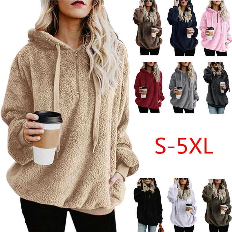 Wipalo Women Fleece Hoodies 2019 Long Sleeve Hooded Pullover Sweatshirt Autumn Winter Warm Zipper Pocket Fur Coat Plus Size 5XL