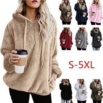 Wipalo Women Fleece Hoodies 2019 Long Sleeve Hooded Pullover Sweatshirt Autumn Winter Warm Zipper Pocket Fur Coat Plus Size 5XL