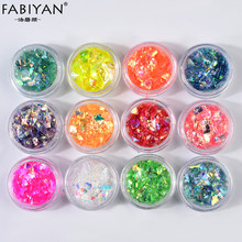 12 Color/Set Nail Art Decoration Ornament Irregular Shell Glitter Powder Cellophane Paper Sequin Manicure Sticker Design DIY Tip(China)