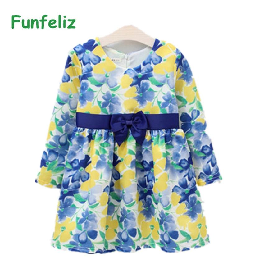 Frühling Herbst Mädchen Kleid Blumendruck Kleid Langarm Prinzessin - Kinderkleidung