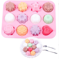 Kitchen Baking Tools 12 Holes Cute Heart Flower Silicone Chocolate Mold Ice Candy Lolly Muffin Mould Xmas Gift Maker Cake mold