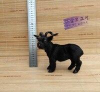 Simulação modelo resina & pele de cabra preta pequena bonito ovelhas brinquedo modelo boneca de presente cerca de 19x17 cm 1404