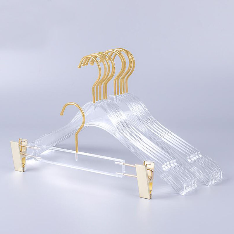 10 Pcs Top Grade Clear Acrylic Crystal Clothes Suits Hanger with Gold Hook Transparent Acrylic Pants