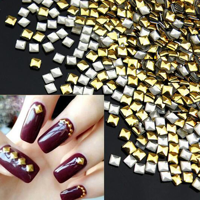 Square Gold DIY 3D Metal Nail Art Decorations 1000pcs/lot Rhinestone Metallic Nail Accessories,Gold Nail Studs,Manicure Tools 1 box gold matte nail art rhinestone studs wheel 3d metal square triangle shaped nail decoration accessories
