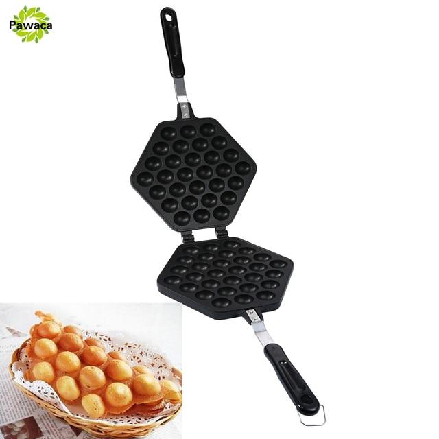 1set Egg Waffle Pan Non-Stick Grill Cake Pan Egg Puff Machine HK Style Bubble Egg Waffle Maker Double Sided Iron Pressure Pan