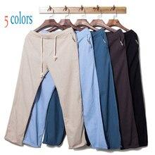 2019 New Spring And Summer Simple Hemp Pants Men'S Trousers Straight Pants Hemp Tight Hemp Rope Casual Linen Trousers