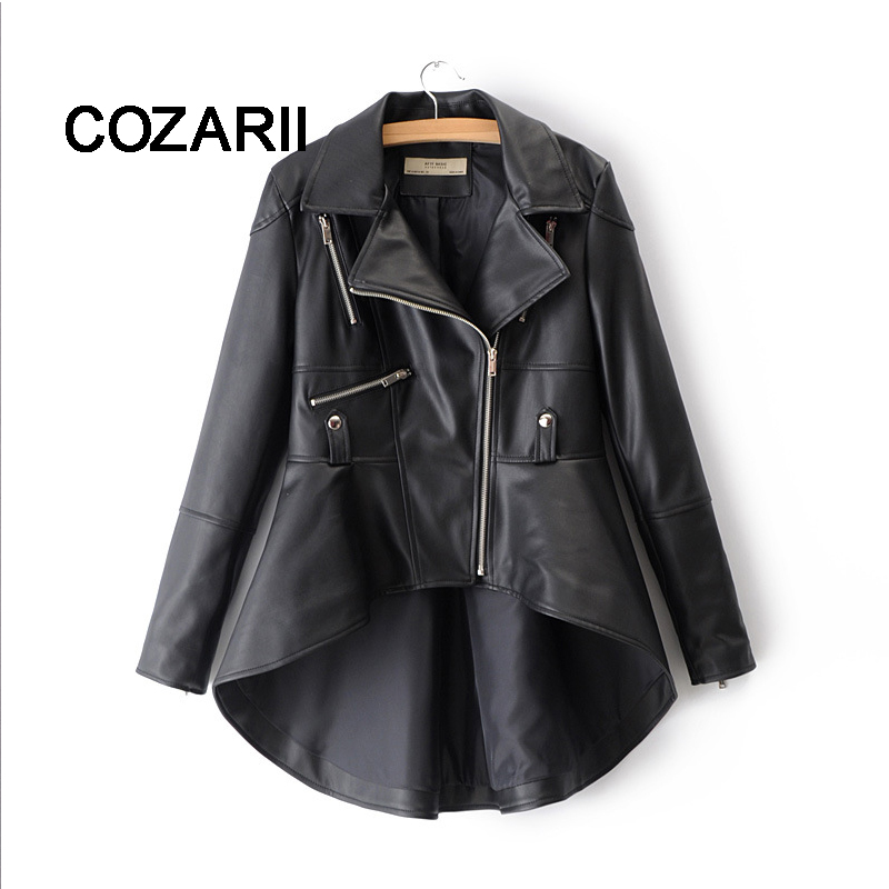2018 Autumn Female PU Faux   Leather   Jacket for Women Stitching Asymmetrical Blazer-collar Fall Khaki Ladies Silver High Low Coat