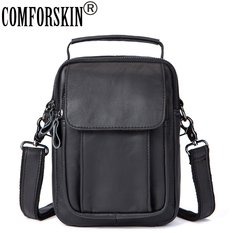COMFORSKIN Luxurious 100% Genuine The First Layer of Cow Leather Men Bags 2018 New Arrivals Man Handbags Hot Brand Messenger Bag 2017 hot high quality brand baotou layer of cow leather bags the new ms tassel handbag is a 100% leather handbag