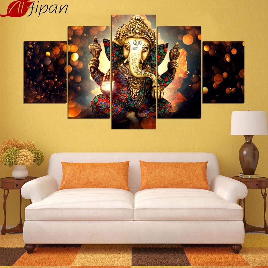Modular Pictures For Living Room Wall Art Home Decor 5 Pieces India ...