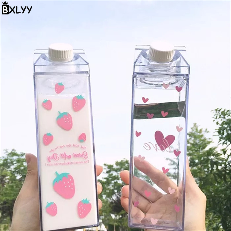 BXLYY 1pc Milk Box Cherry Blossom Strawberry Water Bottle Camping Outdoor Sports Portable Kettle Kitchen Accessories