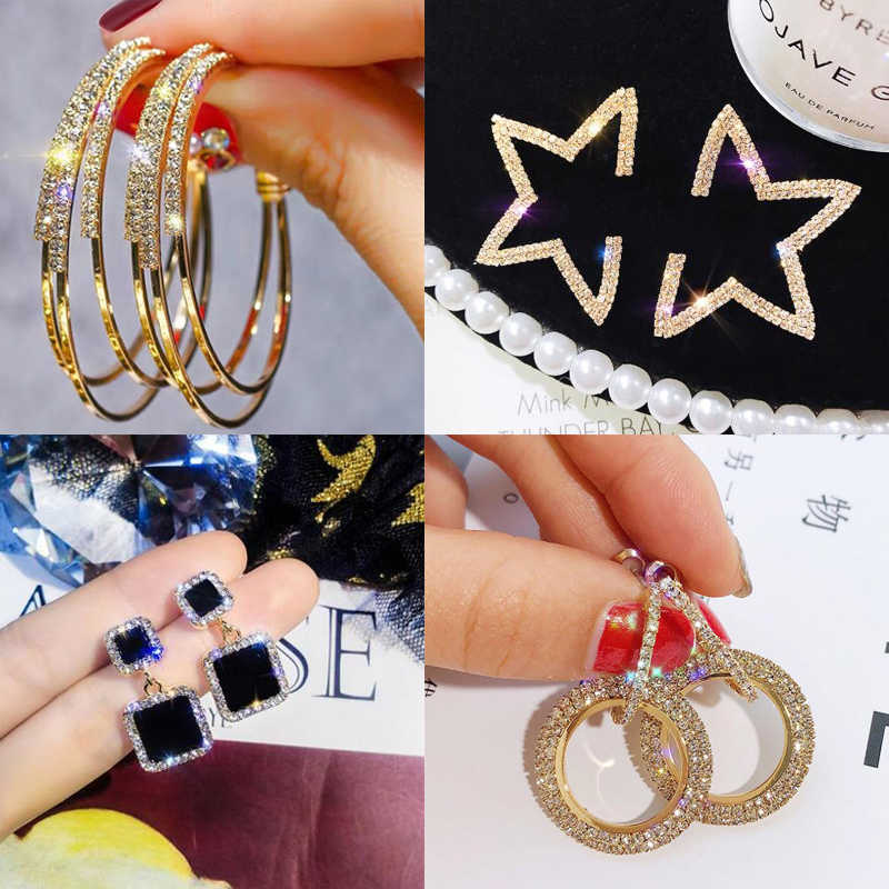 Fashion Gold Color Korean Style Simple Crystal Earrings For Women Wedding Jewerly Bridal Engagement Earrings Female Gifts