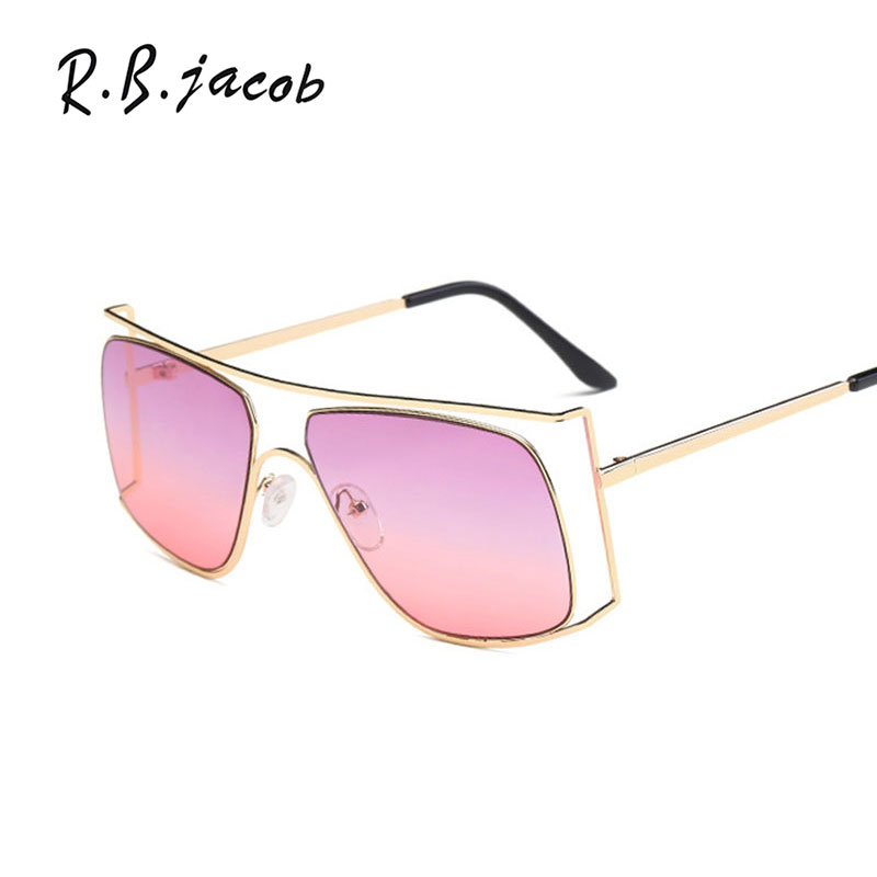 2017 Newest Cool Trend Women Sunglasses Square Plus Size Female Men Sun Glasses Vintage Top Quality Metal Eyeglasses Summer Hot