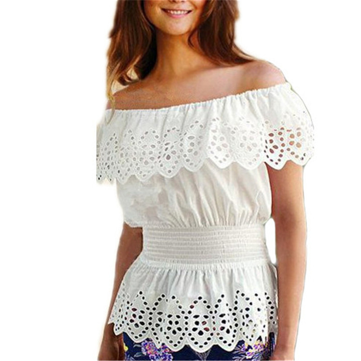 2017 Summer Sexy Off Shoulder Blouse Ladies Slash Neck Lace Ruffles Hollow Out White Tops Elastic Waist Casual Shirt Blusas